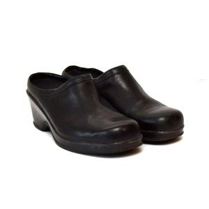 Eastland Mules Clogs Shoes Black Slip On Leather